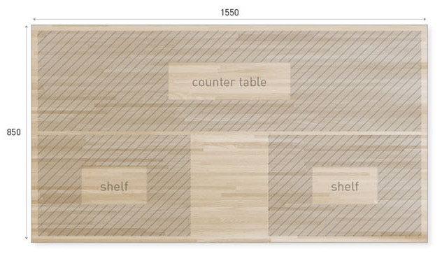 カウンターテーブル図面